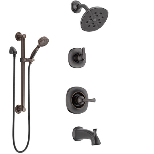 Delta Addison Venetian Bronze Tub and Shower System with Control Handle, 3-Setting Diverter, Showerhead, and Hand Shower with Grab Bar SS14492RB3
