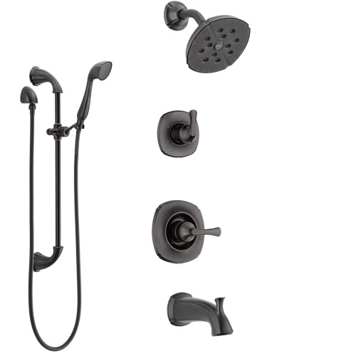 Delta Addison Venetian Bronze Tub and Shower System with Control Handle, 3-Setting Diverter, Showerhead, and Hand Shower with Slidebar SS14492RB4