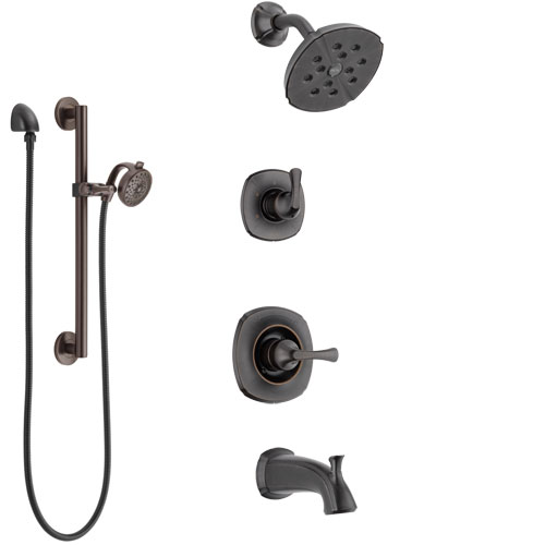 Delta Addison Venetian Bronze Tub and Shower System with Control Handle, 3-Setting Diverter, Showerhead, and Hand Shower with Grab Bar SS14492RB5