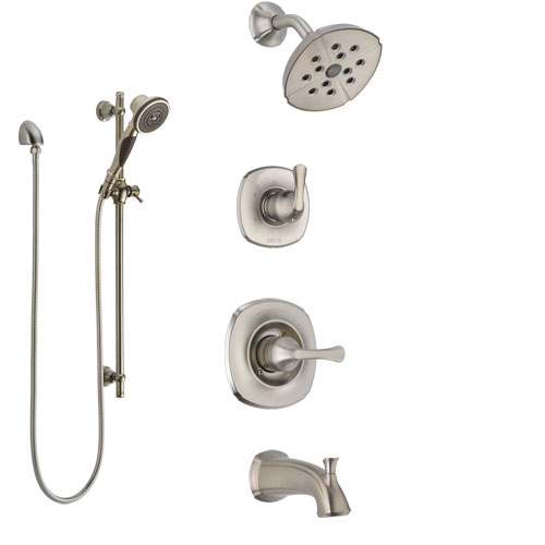 Delta Addison Stainless Steel Finish Tub and Shower System with Control Handle, Diverter, Showerhead, and Hand Shower with Slidebar SS14492SS6