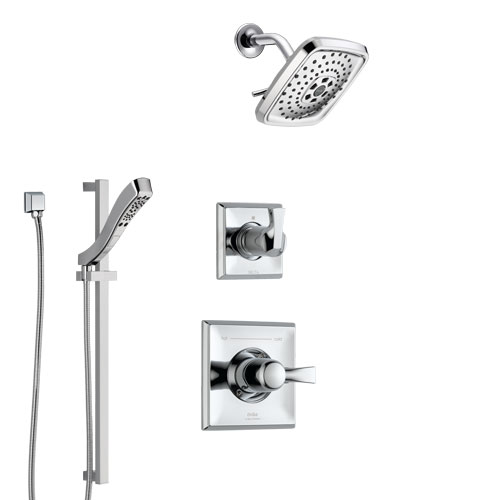 Delta Dryden Chrome Finish Shower System with Control Handle, 3-Setting Diverter, Showerhead, and Hand Shower with Slidebar SS14516