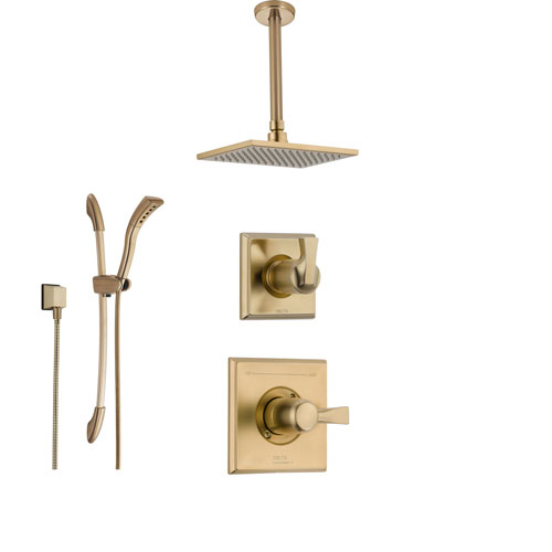Delta Dryden Champagne Bronze Shower System With Normal Shower Handle,  3 Setting Diverter, Large Square Ceiling Mount Showerhead, And Handheld  Shower ...