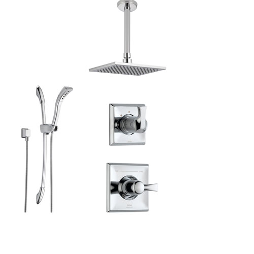 delta dryden chrome shower system with normal shower handle 3setting diverter large square rain ceiling mount showerhead and handheld shower ss145182