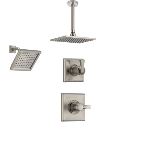 Delta Dryden Stainless Steel Shower System with Normal Shower Handle, 3-setting Diverter, Large Square Rain Ceiling Mount Showerhead, and Wall Mount Modern Showerhead SS145184SS