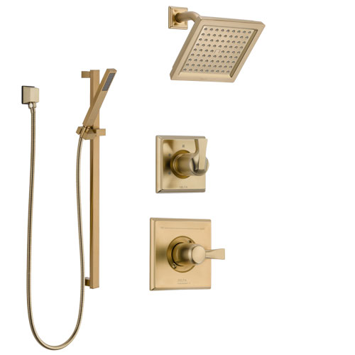 Delta Dryden Champagne Bronze Finish Shower System with Control Handle, 3-Setting Diverter, Showerhead, and Hand Shower with Slidebar SS1451CZ1