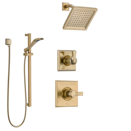 Delta Dryden Champagne Bronze Finish Shower System with Control Handle, 3-Setting Diverter, Showerhead, and Hand Shower with Slidebar SS1451CZ2