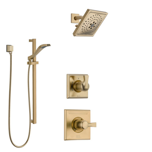 Delta Dryden Champagne Bronze Finish Shower System with Control Handle, 3-Setting Diverter, Showerhead, and Hand Shower with Slidebar SS1451CZ4