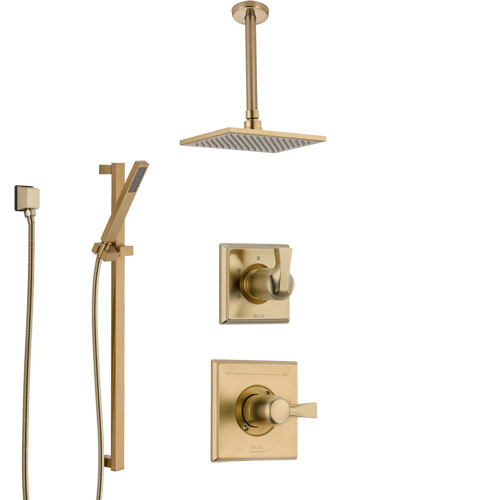 Delta Dryden Champagne Bronze Shower System with Control Handle, 3-Setting Diverter, Ceiling Mount Showerhead, and Hand Shower with Slidebar SS1451CZ6