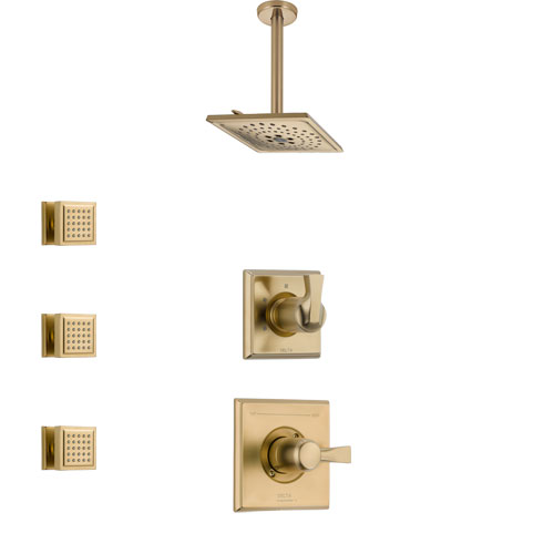 Delta Dryden Champagne Bronze Finish Shower System with Control Handle, 3-Setting Diverter, Ceiling Mount Showerhead, and 3 Body Sprays SS1451CZ8