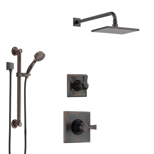 Delta Dryden Venetian Bronze Finish Shower System with Control Handle, 3-Setting Diverter, Showerhead, and Hand Shower with Grab Bar SS1451RB2