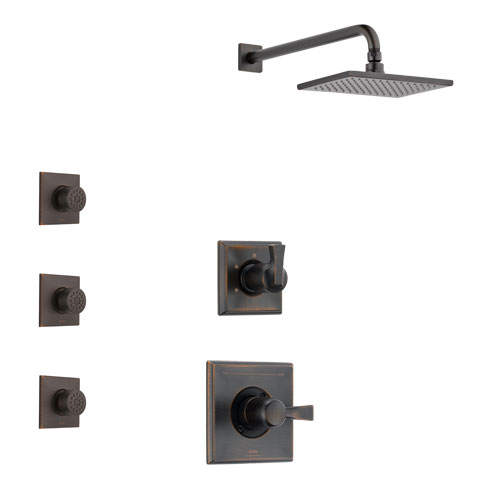 Delta Dryden Venetian Bronze Finish Shower System with Control Handle, 3-Setting Diverter, Showerhead, and 3 Body Sprays SS1451RB7