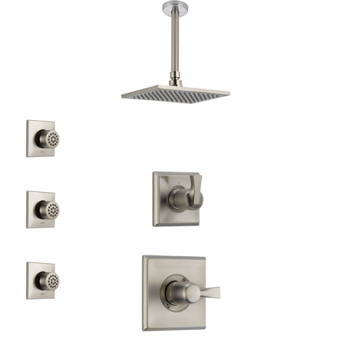 Delta Dryden Stainless Steel Finish Shower System with Control Handle, 3-Setting Diverter, Ceiling Mount Showerhead, and 3 Body Sprays SS1451SS8