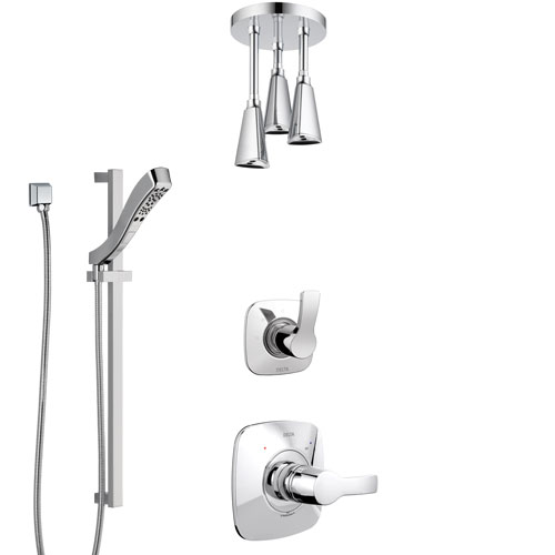 Delta Tesla Chrome Finish Shower System with Control Handle, 3-Setting Diverter, Ceiling Mount Showerhead, and Hand Shower with Slidebar SS14526
