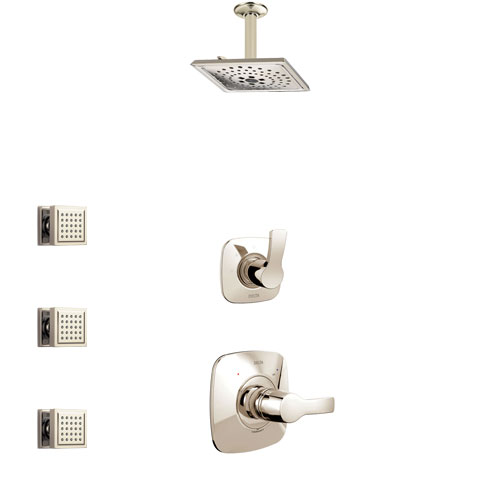 Delta Tesla Polished Nickel Finish Shower System with Control Handle, 3-Setting Diverter, Ceiling Mount Showerhead, and 3 Body Sprays SS1452PN5