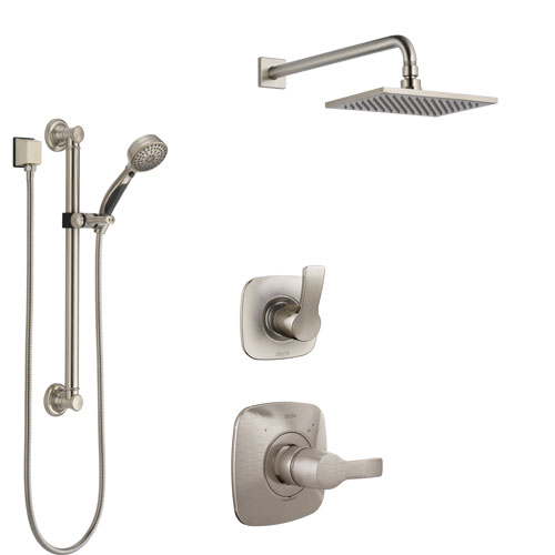 Delta Tesla Stainless Steel Finish Shower System with Control Handle, 3-Setting Diverter, Showerhead, and Hand Shower with Grab Bar SS1452SS2