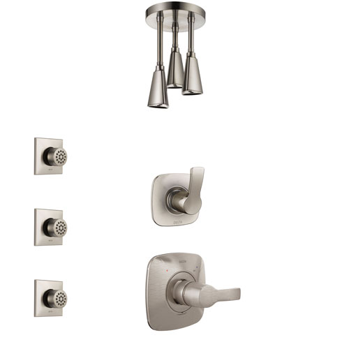 Delta Tesla Stainless Steel Finish Shower System with Control Handle, 3-Setting Diverter, Ceiling Mount Showerhead, and 3 Body Sprays SS1452SS8