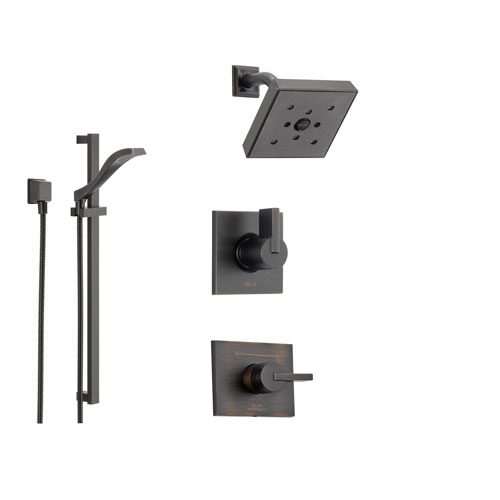Delta Vero Venetian Bronze Shower System with Normal Shower Handle, 3-setting Diverter, Modern Square Showerhead, and Handheld Shower SS145381RB