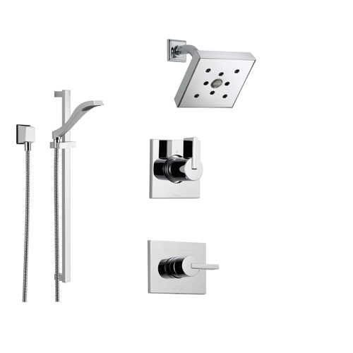 Delta Vero Chrome Shower System with Normal Shower Handle, 3-setting Diverter, Modern Square Showerhead, and Handheld Shower SS145381