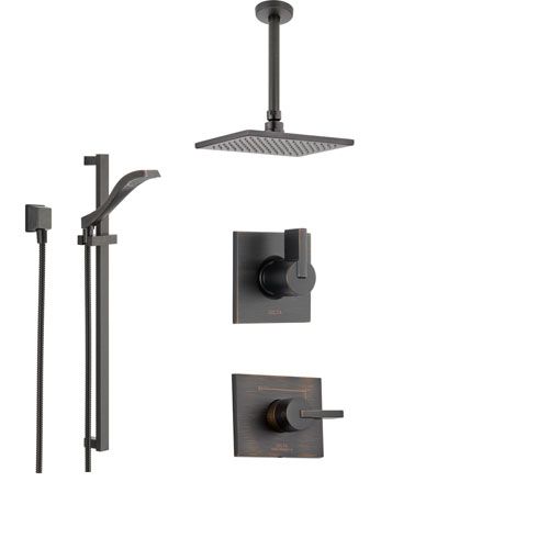 Delta Vero Venetian Bronze Shower System with Normal Shower Handle, 3-setting Diverter, Large Modern Ceiling Mount Rain Showerhead, and Handheld Shower SS145383RB
