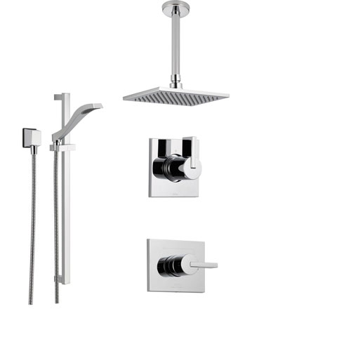 delta vero chrome shower system with normal shower handle 3setting diverter large ceiling mount rain showerhead and handheld shower ss145383