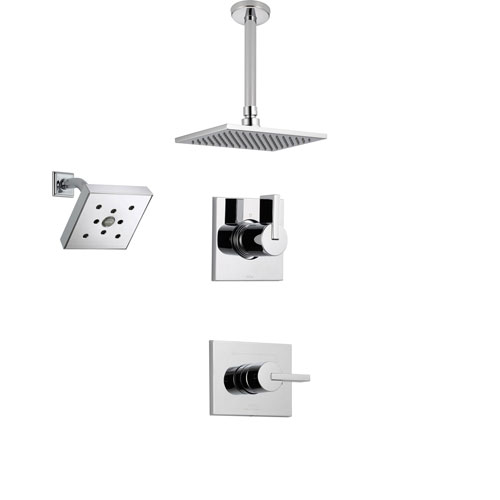 Delta Vero Chrome Shower System with Normal Shower Handle, 3-setting Diverter, Large Ceiling Mount Rain Showerhead, and Wall Mount Showerhead SS145384