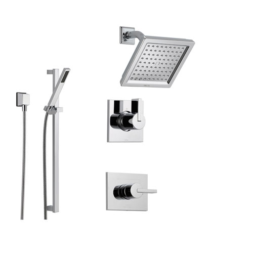 Delta Vero Chrome Shower System With Normal Shower Handle, 3 Setting  Diverter, Modern Square Showerhead, And Handheld Shower SS145385