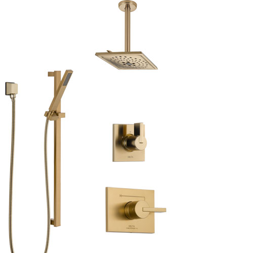 Delta Vero Champagne Bronze Shower System with Control Handle, 3-Setting Diverter, Ceiling Mount Showerhead, and Hand Shower with Slidebar SS1453CZ1