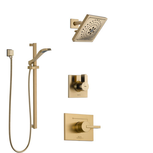 Delta Vero Champagne Bronze Finish Shower System with Control Handle, 3-Setting Diverter, Showerhead, and Hand Shower with Slidebar SS1453CZ4