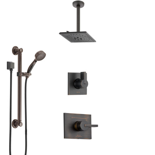 Delta Vero Venetian Bronze Shower System with Control Handle, 3-Setting Diverter, Ceiling Mount Showerhead, and Hand Shower with Grab Bar SS1453RB2