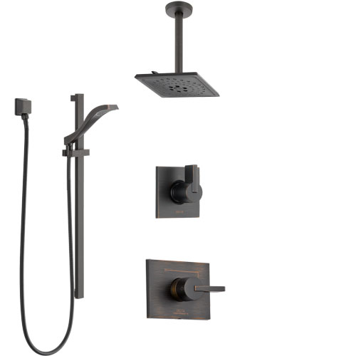 Delta Vero Venetian Bronze Shower System with Control Handle, 3-Setting Diverter, Ceiling Mount Showerhead, and Hand Shower with Slidebar SS1453RB6