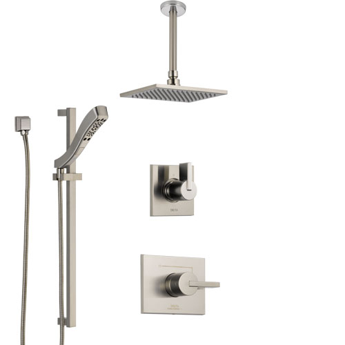 Delta Vero Stainless Steel Finish Shower System with Control Handle, Diverter, Ceiling Mount Showerhead, and Hand Shower with Slidebar SS1453SS3