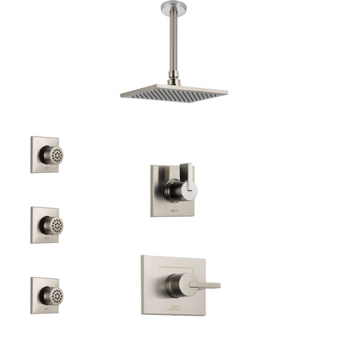 Delta Vero Stainless Steel Finish Shower System with Control Handle, 3-Setting Diverter, Ceiling Mount Showerhead, and 3 Body Sprays SS1453SS5