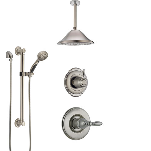 Delta Victorian Stainless Steel Finish Shower System with Control Handle, Diverter, Ceiling Mount Showerhead, and Hand Shower with Grab Bar SS1455SS1