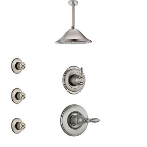 Delta Victorian Stainless Steel Finish Shower System with Control Handle, 3-Setting Diverter, Ceiling Mount Showerhead, and 3 Body Sprays SS1455SS2