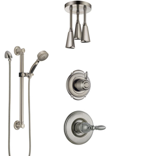 Delta Victorian Stainless Steel Finish Shower System with Control Handle, Diverter, Ceiling Mount Showerhead, and Hand Shower with Grab Bar SS1455SS5