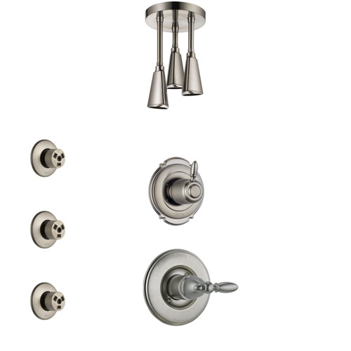 Delta Victorian Stainless Steel Finish Shower System with Control Handle, 3-Setting Diverter, Ceiling Mount Showerhead, and 3 Body Sprays SS1455SS6