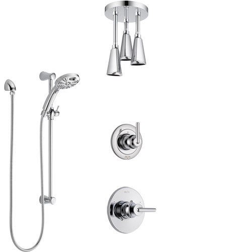 Delta Trinsic Chrome Finish Shower System with Control Handle, 3-Setting Diverter, Ceiling Mount Showerhead, & Temp2O Hand Shower w/ Slidebar SS14594