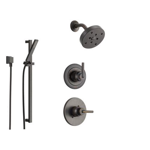 Delta Trinsic Venetian Bronze Shower System with Normal Shower Handle, 3-setting Diverter, Modern Round Showerhead, and Handheld Shower SS145981RB