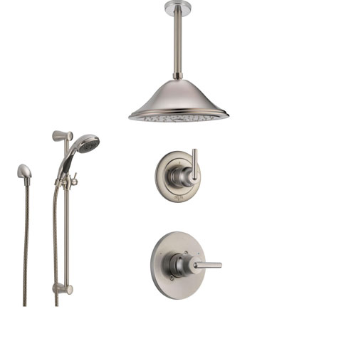 Delta Trinsic Stainless Steel Shower System with Normal Shower Handle, 3-setting Diverter, Large Ceiling Mount Showerhead, and Handheld Shower SS145982SS