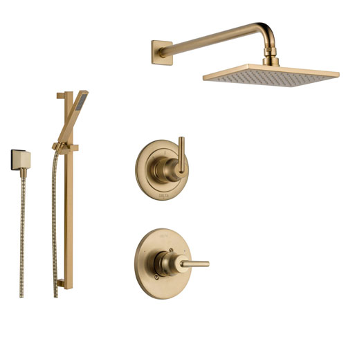 Delta Trinsic Champagne Bronze Shower System with Normal Shower Handle, 3-setting Diverter, Large Square Modern Rain Showerhead, and Handheld Shower SS145985CZ