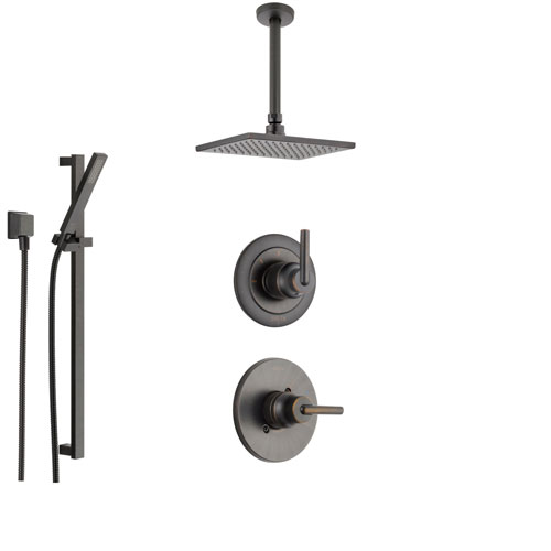 Delta Trinsic Venetian Bronze Shower System with Normal Shower Handle, 3-setting Diverter, Large Square Modern Ceiling Mount Showerhead, and Handheld Shower SS145985RB