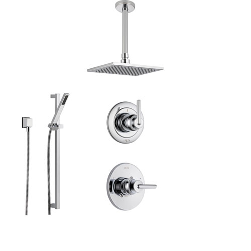 delta trinsic chrome shower system with normal shower handle 3setting diverter ceiling mount large rain showerhead and handheld spray ss145985
