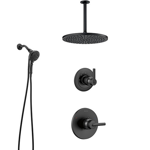 Delta Trinsic Matte Black Finish Modern Shower System and Diverter with Large Round Rain Ceiling Showerhead and SureDock Hand Shower Spray SS1459BL8