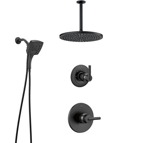Delta Trinsic Matte Black Finish Modern Shower System and Diverter with Large Round Rain Ceiling Showerhead and In2ition Hand Shower Spray SS1459BL9