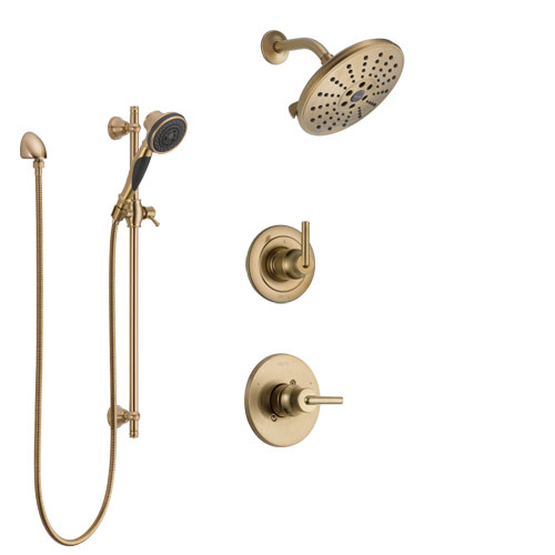 Delta Trinsic Champagne Bronze Finish Shower System with Control Handle, 3-Setting Diverter, Showerhead, and Hand Shower with Slidebar SS1459CZ2