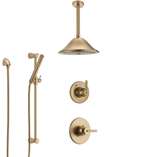 Delta Trinsic Champagne Bronze Shower System with Control Handle, Diverter, Ceiling Mount Showerhead, and Hand Shower with Slidebar SS1459CZ4