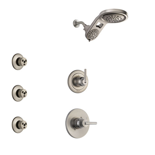 Delta Trinsic Stainless Steel Finish Shower System with Control Handle, 3-Setting Diverter, Dual Showerhead, and 3 Body Sprays SS1459SS8
