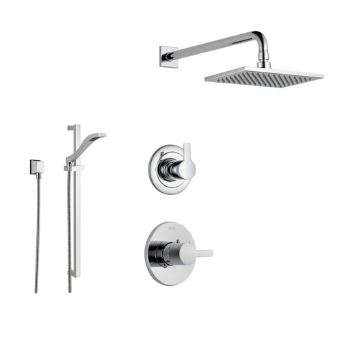 delta compel chrome shower system with normal shower handle 3setting diverter square rain showerhead and handheld shower ss146182