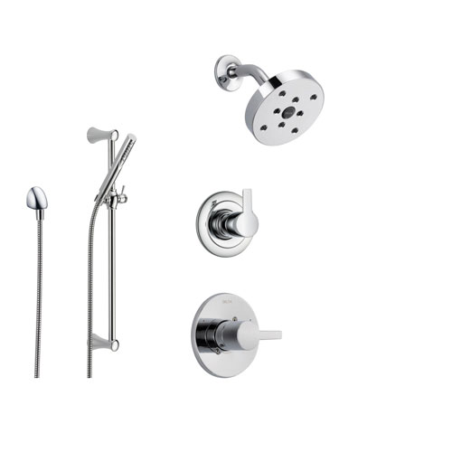 Delta Compel Chrome Shower System with Normal Shower Handle, 3-setting Diverter, Modern Round Showerhead, and Handheld Shower Stick SS146184