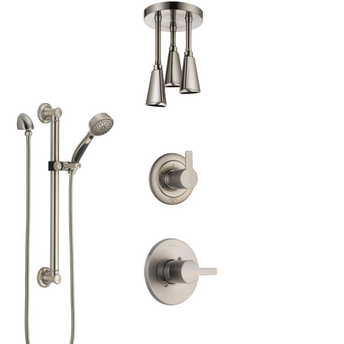 Delta Compel Stainless Steel Finish Shower System with Control Handle, Diverter, Ceiling Mount Showerhead, and Hand Shower with Grab Bar SS1461SS1